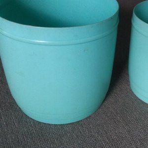 Vintage Kitchen - Vintage Flour + Sugar Turquoise Canisters w/Lids
